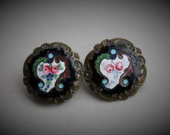 Antique French Champleve Enamel Witch's Heart Button Brooch