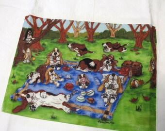 "Basset Hound Flour Sack/Tea Towel - ""Basset's Picnic"""
