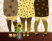 The Bee's Knees, honey bee art, sunflowers, bees illustration, bumblebee print, womens fashion art, best friends, triplets, trio of friends
