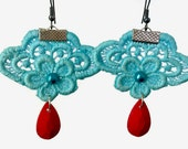 Womens Aqua Blue Lace Embellished Dangle Statement Earrings with Red Drops