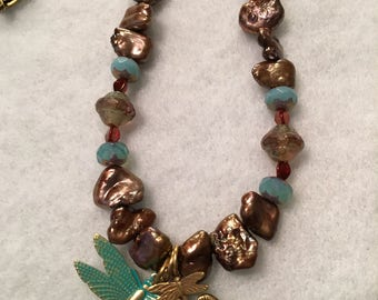 Bring on Spring Dragonfly Necklace with Freshwater Pearls