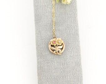 Petite Antique 10k Gold Pendant |  Antique Art Nouveau Pendant | Pink Tourmaline Seed Pearl Flower Pendant