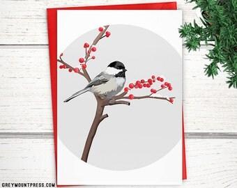 Black-capped chickadee bird cards. Blank bird card. Chickadee cards. Beautiful bird greeting cards.