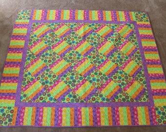 Pastel Bright Striped Railfence Quilt