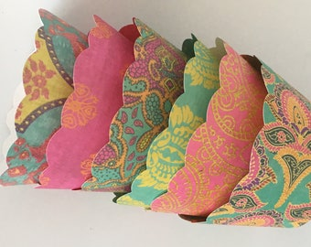 Cupcake Wrappers - Colorful Weddings, Showers, Boho, Vintage