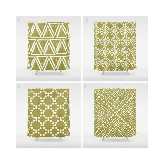 Gold Shower Curtain - Geometric Shower Curtain - Modern Shower Curtain - White Shower Curtain - Triangle Shower Curtain - Gold and White