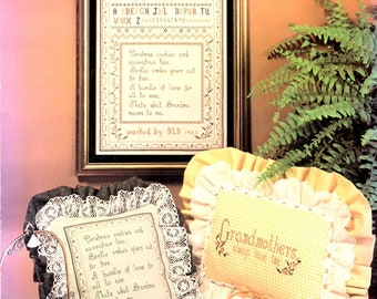 Grandmothers are Special Poem Sampler Cookies Counted Cross Stitch Embroidery Craft Pattern Leaflet L107