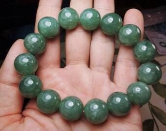 Natural Genuine A Jadeite Jade Full Green Round Bead Bangle Bracelet