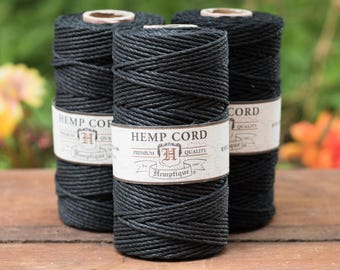 Black Hemp Cord 2mm,  Hemp Twine,   205 feet,  48lb,  Black Twine,  Thick Hemp Cord