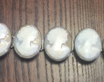 Estate Sterling Silver Bold Enormous 5 Genuine Carved Shell Lady Cameo Bracelet