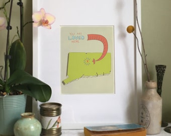 You Are Loved Here - CONNECTICUT personalized map ( 8x10 Fine Art Print )