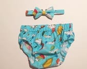 Custom order for Allie. Oh the places you'll go diaper cover and bow tie.