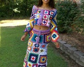 Custom Listing for -  Tyeisha Taylor, Granny Square Long Skirt and Crop Top Outfit, Hippie Chic, Bohemian Set, Festival Skirt and Crop Top,