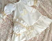 Ivory Baptism Gown with Lamb Embroidery, Monogram and Lace with matching Headband