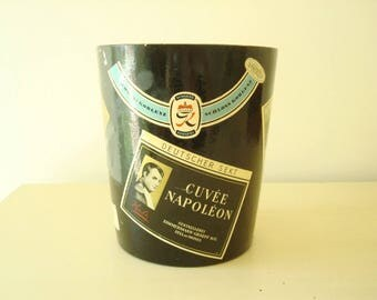 Lacquered ice bucket, 1950's West German black ice bucket with decoupaged wine labels, mid-century vintage, Mad Men era, swanky barware,
