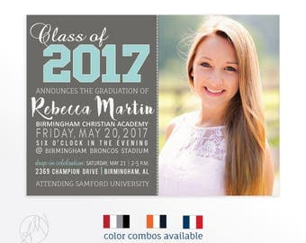 Graduation Party Invitation for Class of 2017, High School Grad Announcement Card, Gray and Turquoise Photo Graduation Announcement