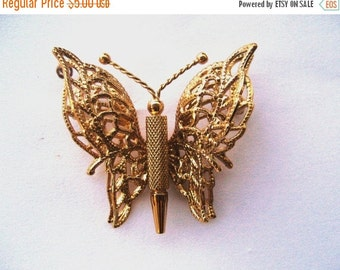 HOLIDAY SALE Vintage Monet gold tone butterfly, moth brooch pin with filigree wings