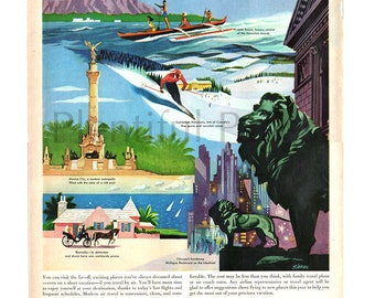 1957 United Aircraft Corporation Vintage Ad, 1950's Travel, Retro Illustration, Advertising Art, 1950's Illustration, 1950's Air Travel.