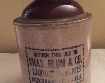 1890's Stoneware Crockery Advertising Liquor Jug Chas Blum & Co. Jacksonville Fl