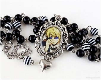 Shizuo Heiwajima Anime Necklace, Black and White, Resin Cameo Pendant, Character Necklace, Anime Jewelry