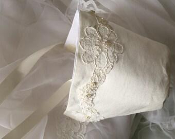 Mothers Wedding Dress Bonnet, Baptism Bonnet, Heirloom Christening Bonnet made from Your wedding dress