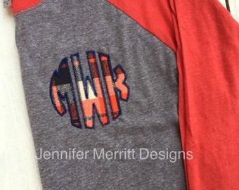 monogram shirt, baseball tee monogram, monogrammed raglan, monogrammed baseball shirt, monogrammed shirt, plaid monogram Gift for Her