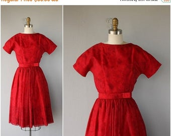 25% OFF FLASH SALE.. 1950s Red Party Dress | 50s Party Dress | 1950s Dress | 50s Prom Dress | 1950s Chiffon Dress (small)