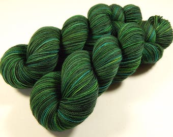 Hand Dyed Yarn - Sock Weight Superwash Merino Wool Yarn - Forest Multi - Knitting Yarn, Sock Yarn, Green Fingering Yarn, Indie Dyed