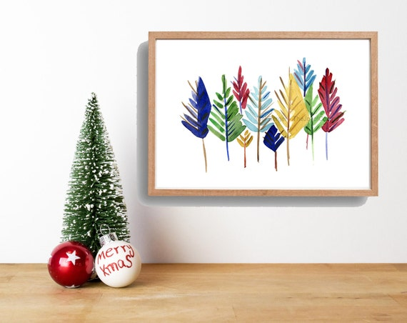 Art Print colorful Pine Trees/ Abstract trees watercolor print/ modern pine trees art/ Christmas print/ woodland/ nursery art/ nursery decor