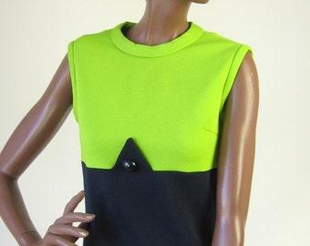 60s MOD Vintage Dress Jacket Set Geometric Color Block 1960s Mad Men Small