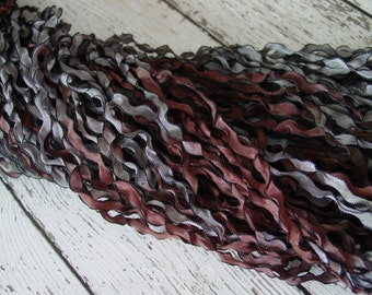 Hand Dyed Ribbon - New - WOODLAND Curly Black ribbon, 5 yards