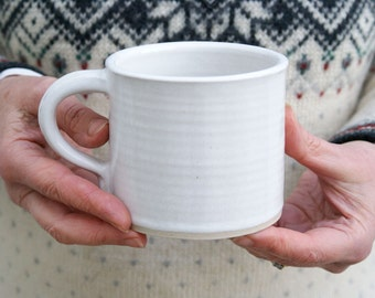 Two straight sided mugs - hand thrown stoneware in brilliant white