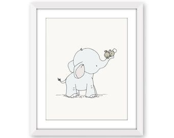 Elephant and Bunny Nursery Art -- Hold On Tight -- Elephant and Bunny --  Nursery Art Print -- Nursery Decor-- Children Art -- Kids Wall Art
