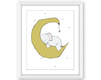 Elephant Nursery Art Print -- Elephant Moon and Stars Dream -- Elephant Art Print -- Nursery Decor -- Children Art -- Kids Wall Art