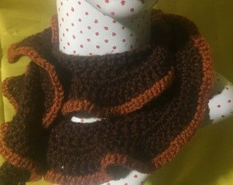 Brown Ruffle Scarf with Rust Accent Stripe