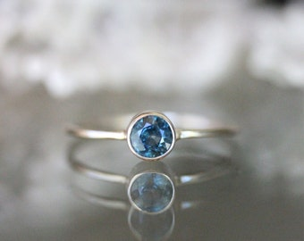 Blue Sapphire 14K White Gold Ring, Gemstone Ring, Stacking Ring, Recycled Gold Ring, Eco Friendly Gold - Ready To Ship In The Next 9 Days