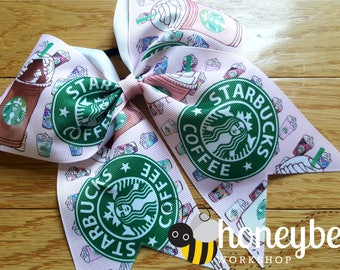 adorable Starbucks coffee loving mom bow - coffee bow - coffee lover boutique bow with tails - oversized bow for little girl