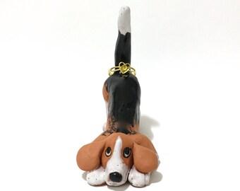 Beagle Ring Holder, Hand-Built Ceramic Beagle Sculpture, Beagle Art, Dog Ring Holder