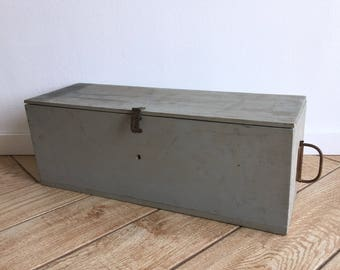 Industrial Solid Wood Box - Lidded Chippy Box with Lock Panel - Rustic Box with Lid and Side Pull - Wooden Tool Box w Divider Slots