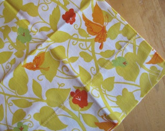 Single Vintage Pillowcase - Orange Butterflies