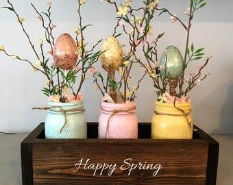 Easter table decor, mason jar decor, spring centerpiece, mantle decor, planter box, wooden table box, farmhouse decor, Easter centerpiece