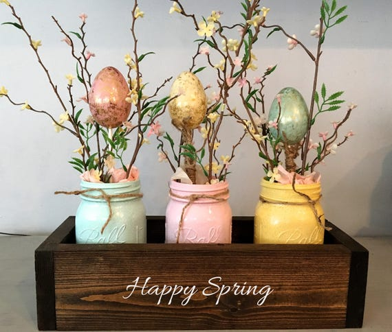 Easter table decor, mason jar decor, spring centerpiece, mantle decor, planter box, wooden table box, farmhouse decor, Easter centerpiece