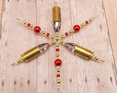 Snowflake Ornament - Hunting Theme - Upcycled 9mm - Metallic Red - Bullet - Ammo - Used Bullets - Brass