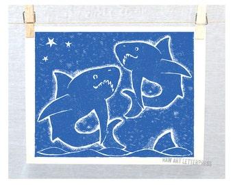 Sharks, Marine Mamal, Ocean Theme Nursery, Sea Creatures, Boys room art, Girls room decor, surfer art, Nursery Art Print, Marine Art