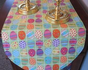"""Easter Egg Table Runner Reversible 32"""" or 36"""" Easter Egg Table Runner Decorated Eggs Easter Decoration Yellow Table Runner Easter Decor"""