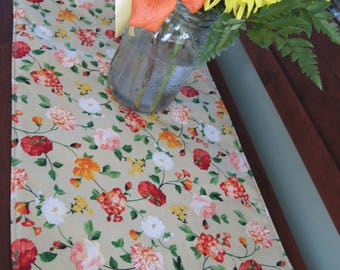 "Green and Orange Floral Table Runner 36"" Reversible Orange and Yellow Table Runner Spring Table Runner Green Table Decor Dresser Scarf"