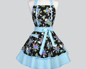 Ruffle Retro Woman Apron - Cute Pin up Rockabilly Tattoo Skulls and Roses in Blue and Black Vintage Style Sexy Full Kitchen Aprons