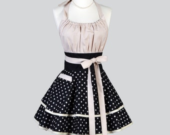 Flirty Chic Womens Aprons - Full Retro Jardin De Provence Black And Beige Polka Dot Vintage Style Kitchen Cooking Apron