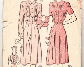 Vintage 1942 Advance 3060 Sewing Pattern Misses' One-Piece Dress Size 14 Bust 32