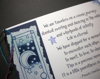 OUR COSMIC JOURNEY ~ Mixed Media Collage Card, quote by Paulo Coelho